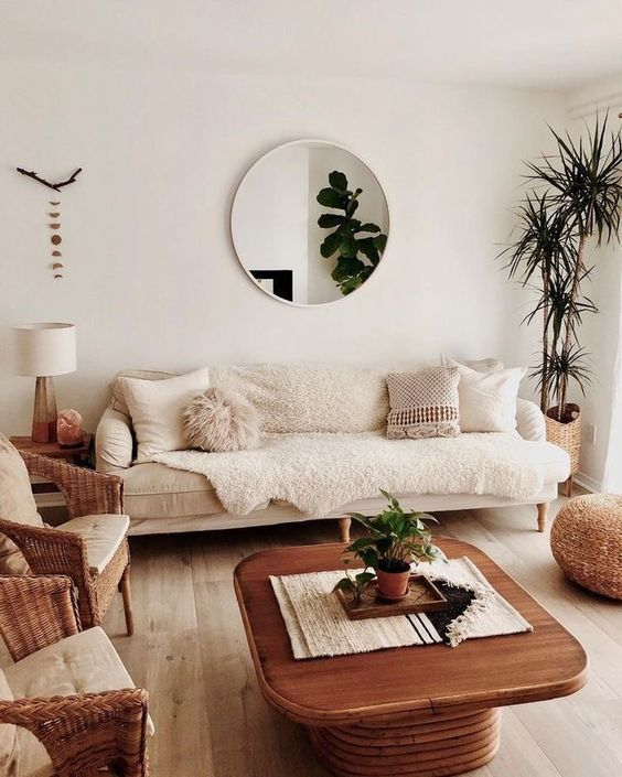extra large round mirror in living room