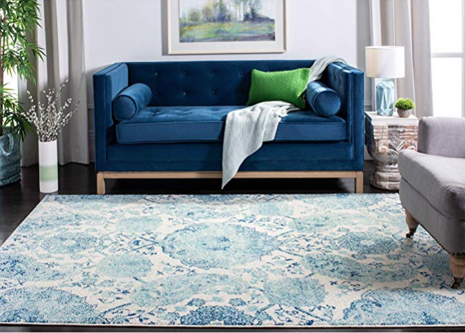 Turquoise and White Floral boho rug