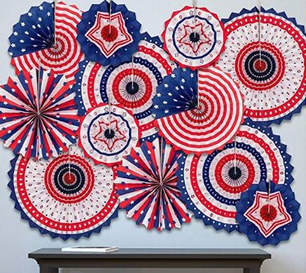fun red, white, and blue wall decor