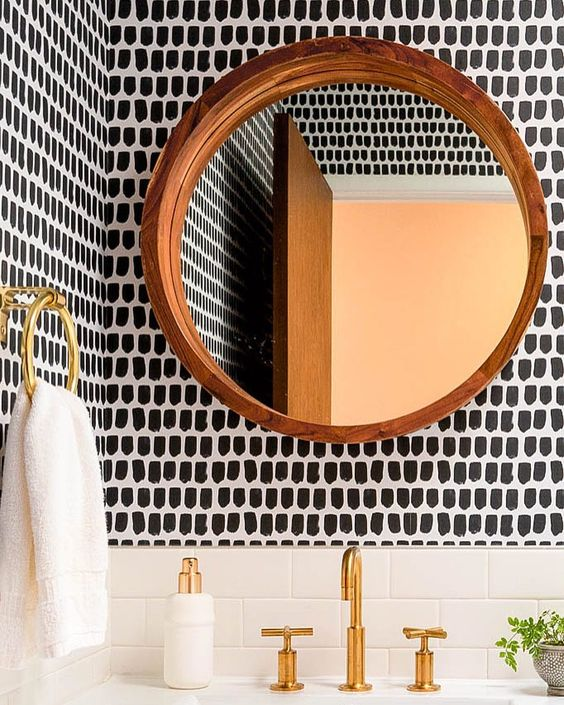 Black And White Bathroom Wallpaper Renovation Hungry